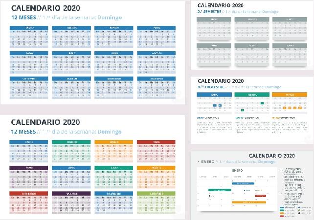 plantilla calendario 2020 ppt gratis.