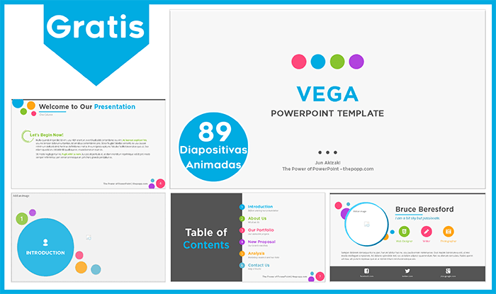 Plantilla animada Vega para Power point gratis.
