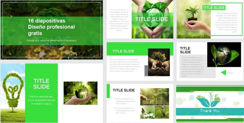 Plantilla Powerpoint del Cuidado Medio Ambiente gratis.