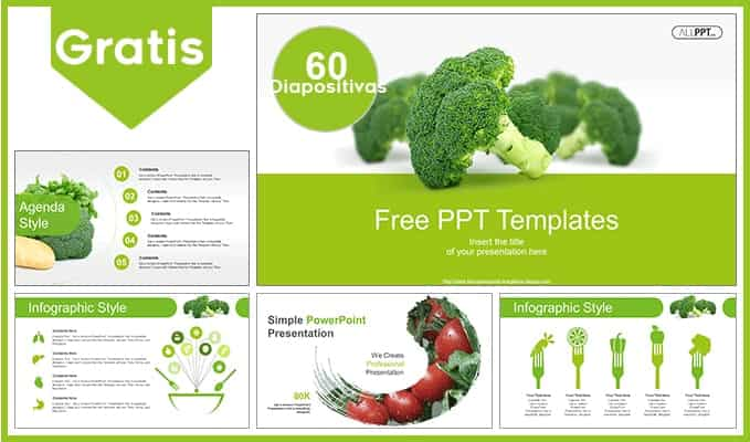 Plantilla para Power Point de verduras y vegetales.