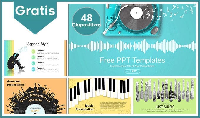 Plantilla profesional para Musica en Powerpoint gratis.