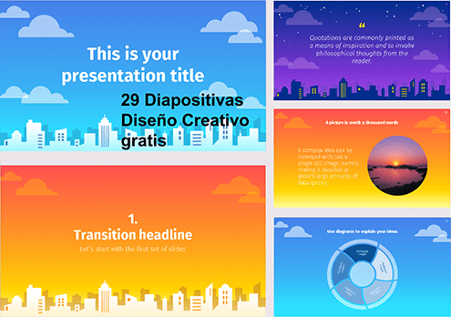 Colorful City Style Power point template free.