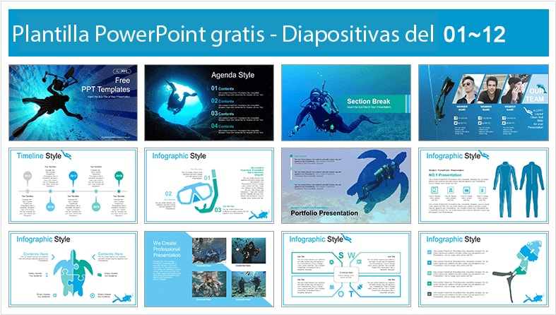 Ocean Diving Power point template free.