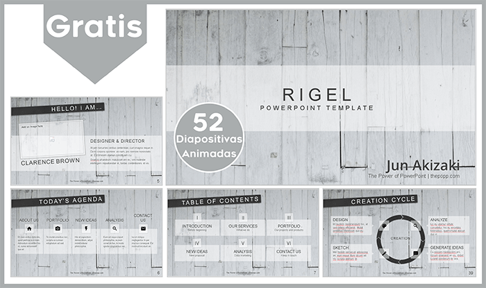 Plantilla animada Rigel para Power point gratis.
