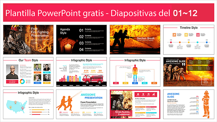 Fire Power point template free.