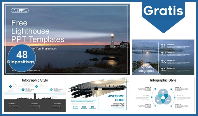 Lighthouse Landscape power point template free.