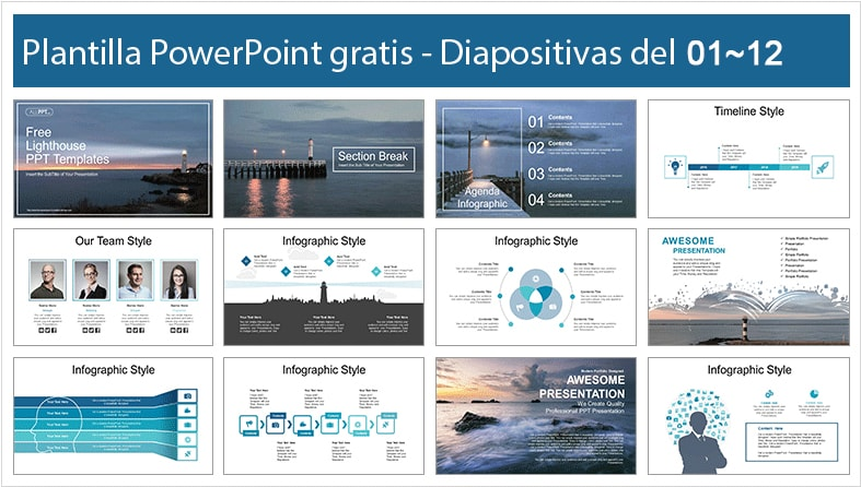 Plantilla power point de paisaje de faro gratis.