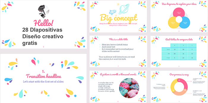 Plantilla power point estilo gotas coloridas gratis.