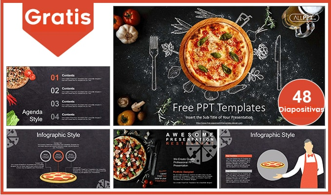 Plantilla power point de pizza gratis.