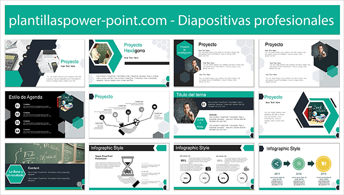 Power point template free with hexagon style.