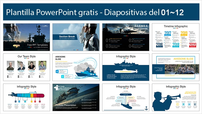 Free Naval force Power point template.