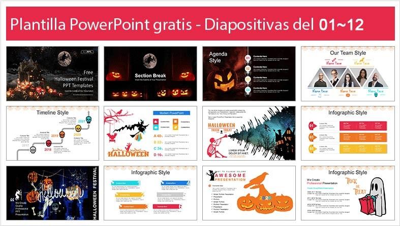 plantilla de celebracion de halloween en powerpoint.