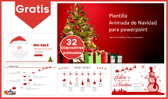 Plantilla animada de navidad para power point con movimiento gratis.