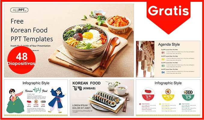 plantilla power point de comida coreana gratis.
