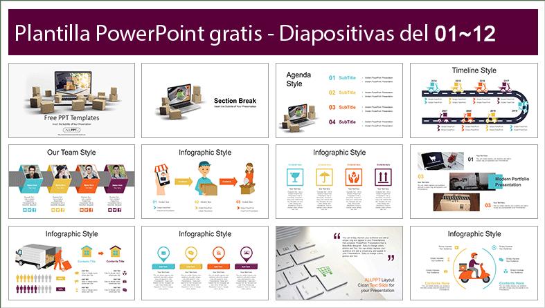 plantilla de servicio de entrega en powerpoint.