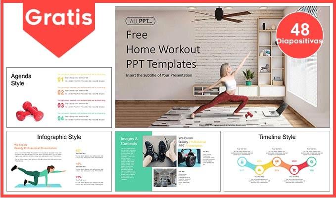 Plantilla power point de ejercicios en casa para descargar gratis.