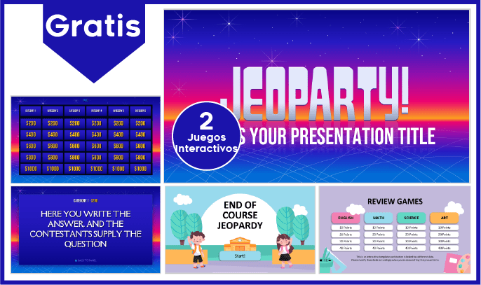 Juego Jeopardy en Power Point para descargar gratis.