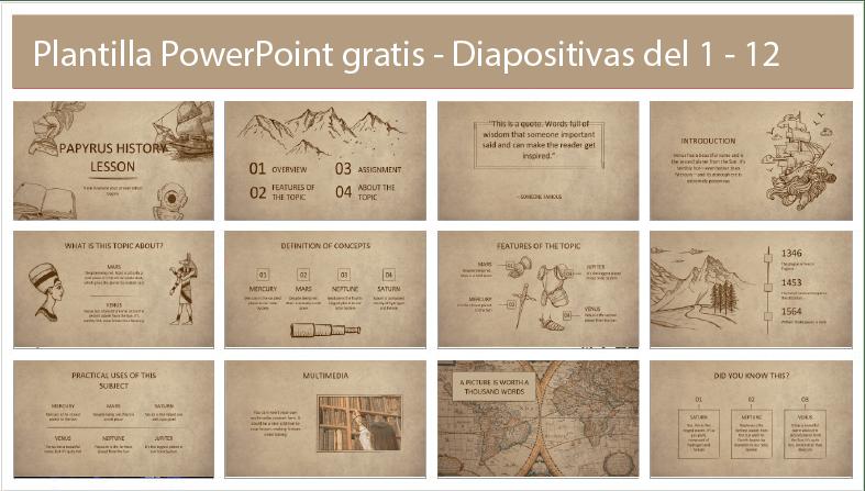 Plantillas estilo historico en powerpoint gratis.