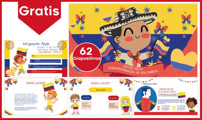 Plantilla power point de fiestas patrias colombianas para niños, para descargar gratis.
