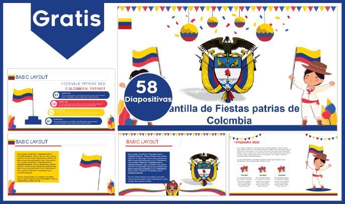 Plantilla power point de fiestas patrias de colombia para descargar gratis y fondos de la independencia.