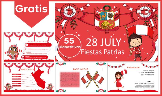 plantilla power point y fondos de fiestas patrias Perú para niños.
