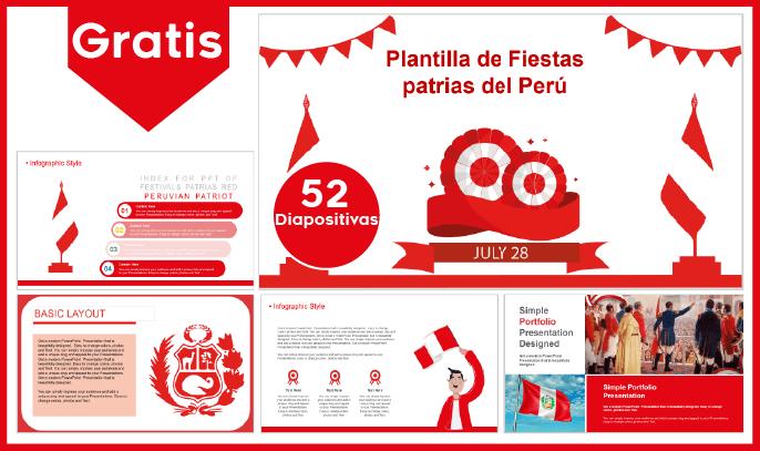 Plantilla powerpoint de fiestas patrias del Perú para descargar gratis.
