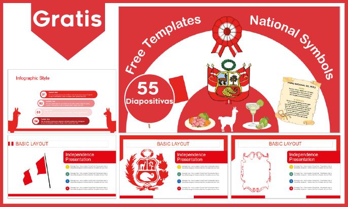 Plantilla Power point de simbolos patrios del Peru para descargar gratis. Fondos de fiestas patrias peru.