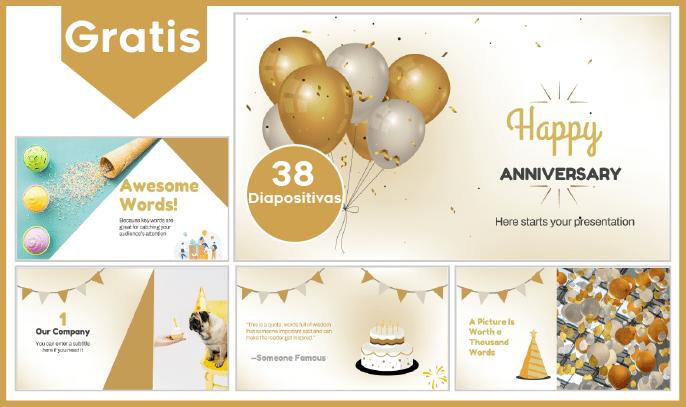 Plantilla PowerPoint De Feliz Aniversario Para Descargar.