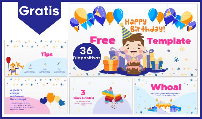 Plantilla PowerPoint de feliz cumpleaños infantil para descargar.