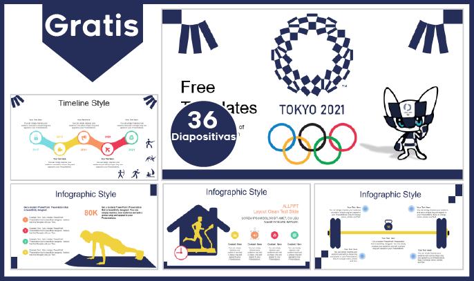 Plantilla PowerPoint de las Olimpiadas de Tokio 2021 para descargar.